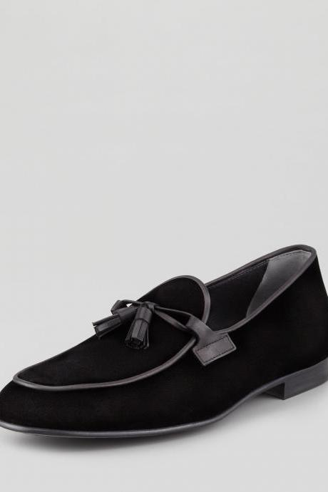 Men Black Velvet Tassel Moccasins Shoes