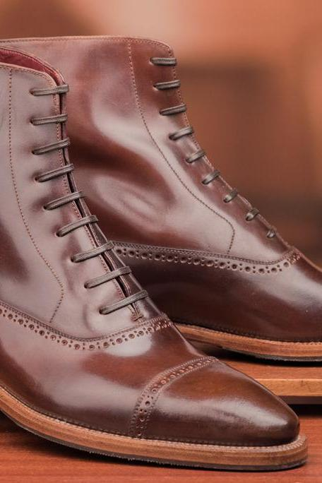 Men Brown Brogue Laces Genuine Leather Boots