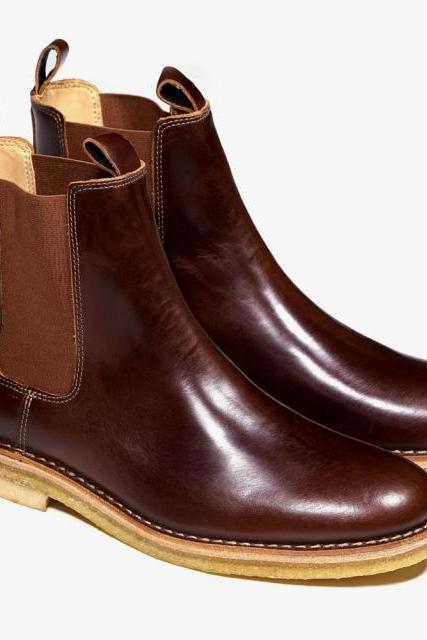 Men Maroon Chelsea Genuine Leather Boots