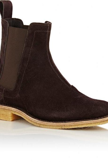 Men Brown Chelsea Suede Leather Boots