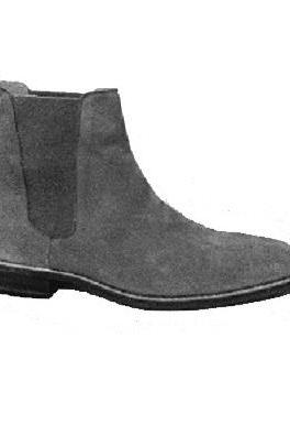 Men Gray Grey Chelsea Suede Leather Boots