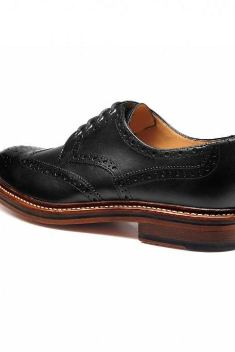 Men Black Brogue Wingtip Genuine Leather Shoes