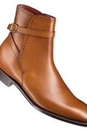Men Tan Single Monk Strap Genuine Leather Boots