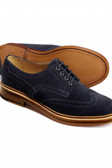 Men Blue Brogue Wingtip Suede Leather Shoes