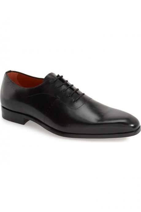 Men Black Formal Laces Genuine Leather Shoes