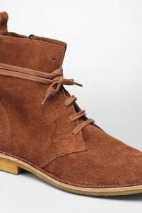 Men Brown Lace Up Suede Leather Boots