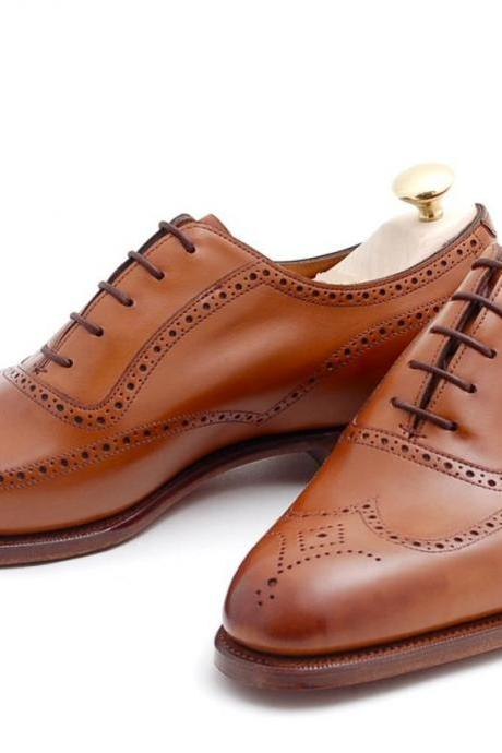 Men Brown Oxford Brogue Wingtip Genuine Leather Shoes
