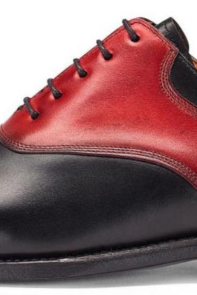 Men Red Black Laces Genuine Leather Shoes