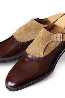 Men Brown Beige Single Monk Two Tone Suede & Genuine Leather Shoes