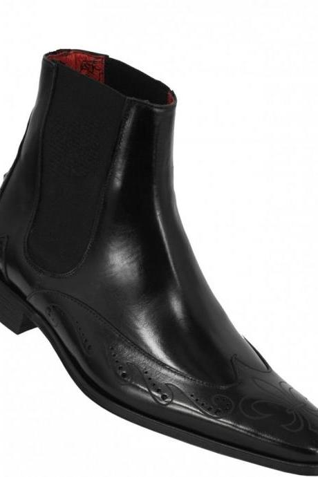 Men Black Chelsea Wingtip Design Genuine Leather Boots