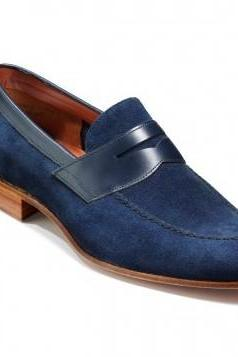 Men Blue Moccasins Suede Leather Shoes