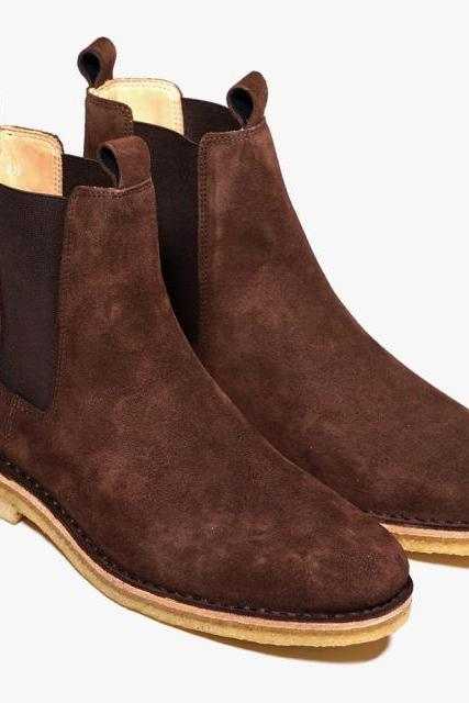Men Brown Chelsea Suede Leather Boots with Brown Outsole