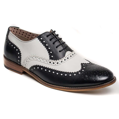 Handmade Men Black And White  Leather Shoes, Men Wingtip Brogue Dress Shoes