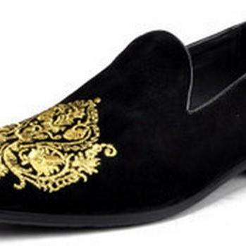 Handmade Men Black Velvet Loafer Embroidered shoes , Men's Velvet  Leather Sole Shoe