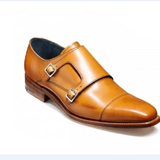 Handmade men tan color monk shoes, Men's formal Dress shoe