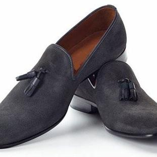 Handmade men dark gray moccasins shoes, Men suede leather shoe