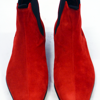 Handmade men red color pointed toe suede boot , Men's ankle boots with cuban heel