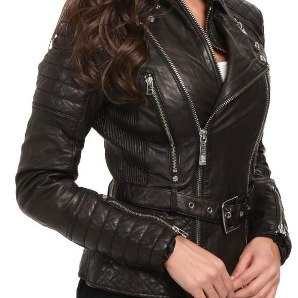 Leather Skin Women Black Belted Quilted Genuine Real Leather Jacket