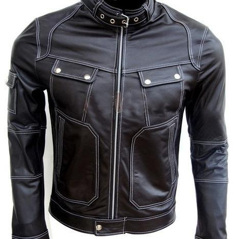 Men Black Genuine Real Leather Jacket Snap Button Closure Pocket White Stitching