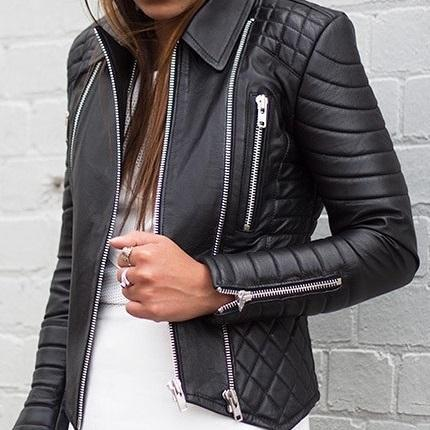 Women Genuine Leather Black Padded Quilted Brando Leather Jacket