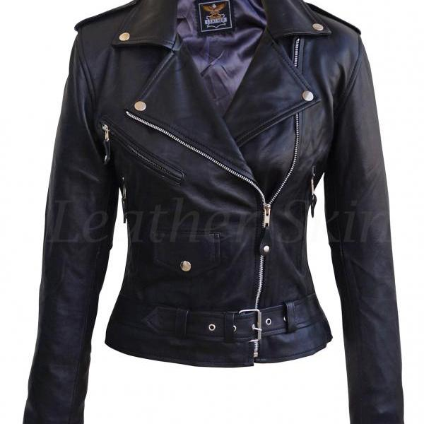 Leather Skin Women Black Brando Biker Motorcycle Genuine Leather Jacket