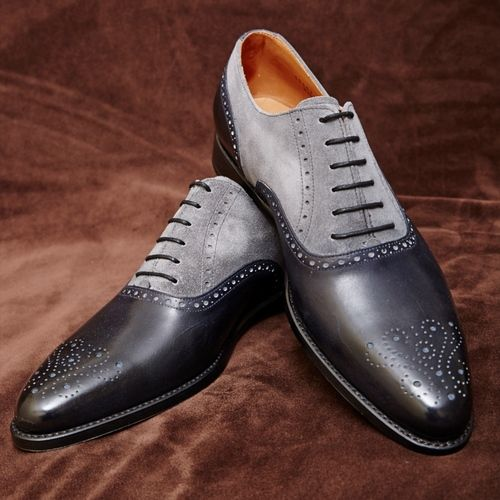Men Black Gray Brogue Two Tone Genuine & Suede Leather Shoes
