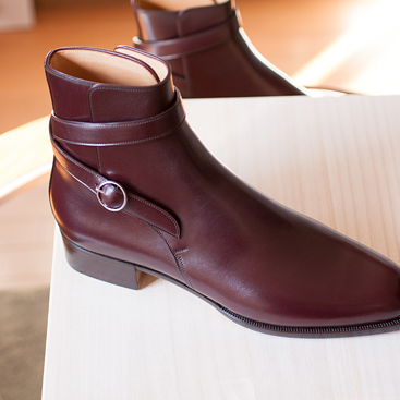 Men Maroon Jodhpurs Ankle Genuine Leather Boots