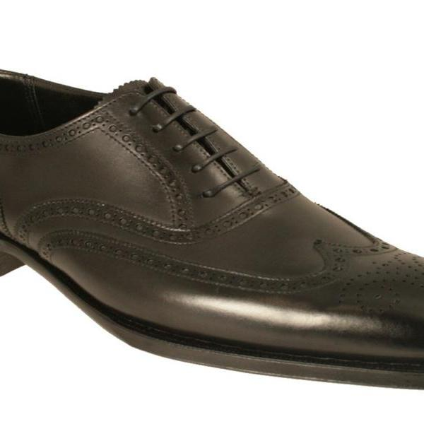 Men Black Oxford Brogue Wingtip Genuine Leather Shoes