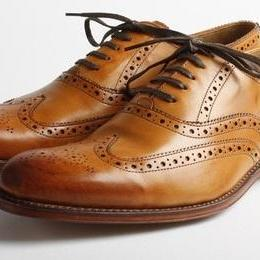 Men Tan Brogue Wingtip Genuine Leather Shoes