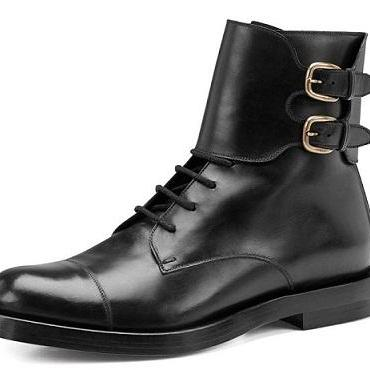 Men Black Ankle Double Monk Military Genuine Leather Boots