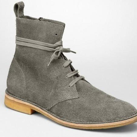 Men Gray Grey Lace Up Suede Leather Boots
