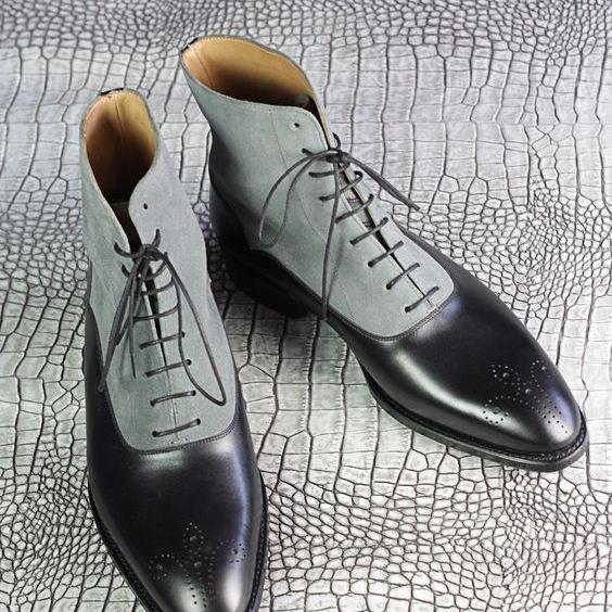 Men Black Gray Grey Brogue Lace Up Suede & Genuine Leather Boots