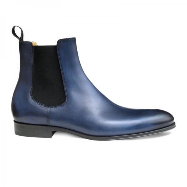 Men Blue Chelsea Pull On Genuine Leather Boots
