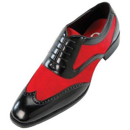Men Black Red Oxford Brogue Wingtip Suede & Genuine Leather Shoes
